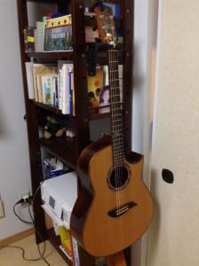 本棚にギターハンガー